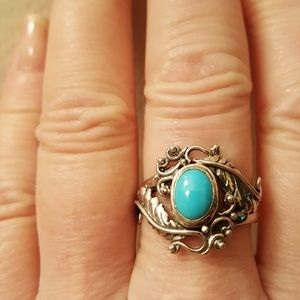 Jewelry - Sleeping Beauty Turquoise 1.60cts Sterling Size 10